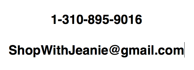 Jeanie's Email and Phone